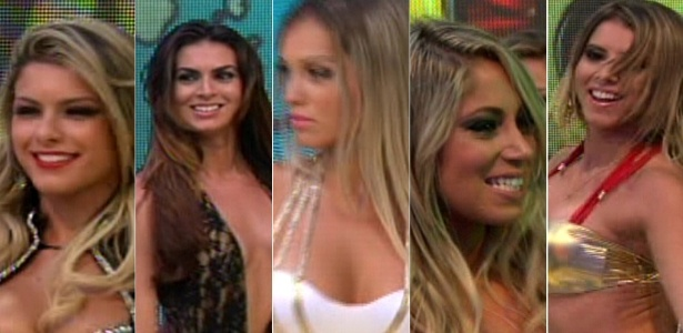 "As novas Panicats do ""Pânico na Band"": Babi Rossi, Renata Molinaro, Carol Belli, Carol ""Narizinho"" e Thaís"