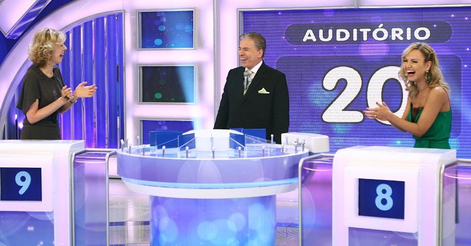 Silvio Santos recebe as apresentadores Marília Gabriela e Eliana no