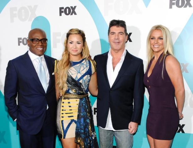 L.A. Reid, Demi Lovato, Simon Cowell e Britney Spears na festa de apresentação do programa X-Factor, em New York (14/05/2012)