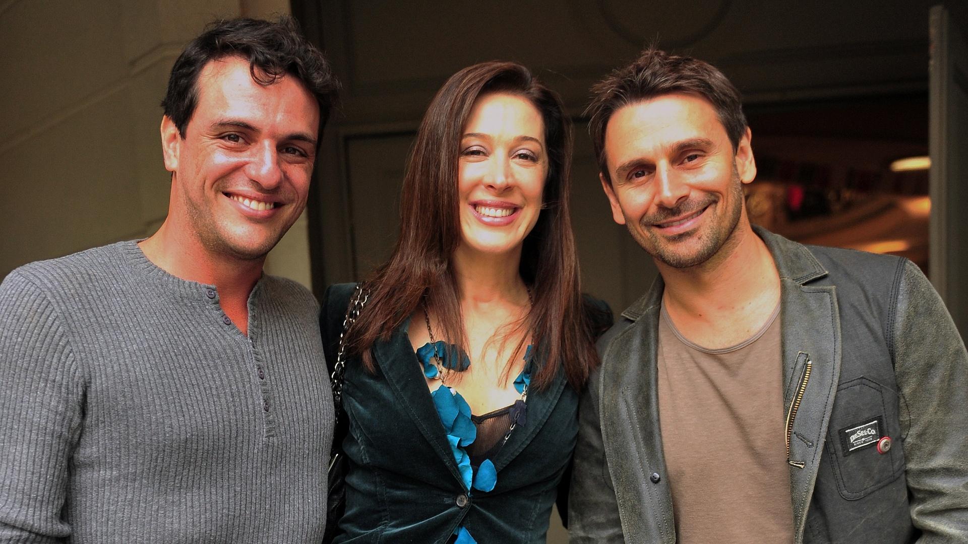 Da esquerda para a direita, Rodrigo Lombardi, Cláudia Raia e Murilo Rosa durante workshop de