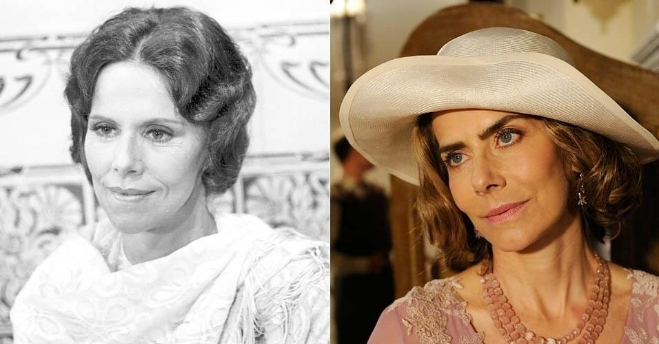 Da esquerda para a direita, as atrizes Maria Fernanda e Maitê Proença em cena de