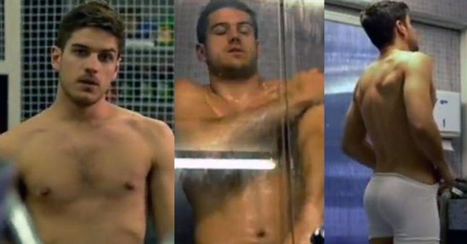 """O gerente da """"Fashion Motors"""" da novela """"Fina Estampa"""", Rafael (Marcos Pigossi) exibiu o físico em banho no chuveiro com direito a cena de cueca branca"""