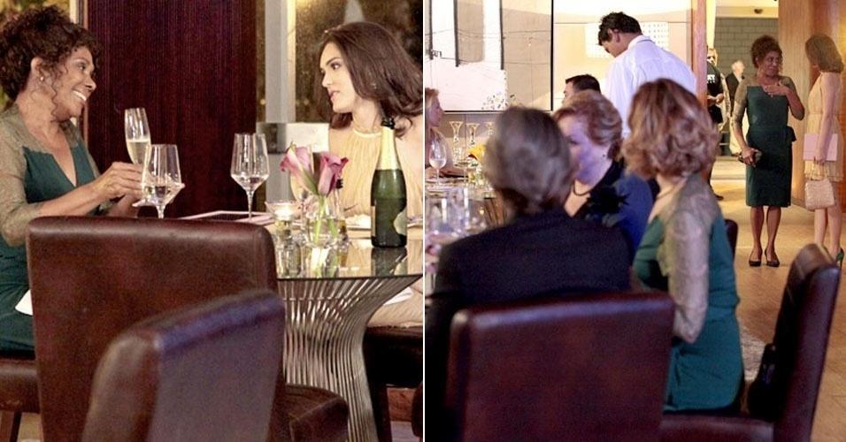 """Em """"Cheias de Charme"""", Cida janta no mesmo restaurante que os Sarmentos e rouba a cena (16/7/12("""