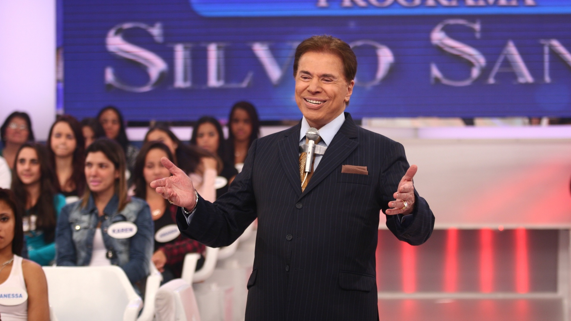 Silvio Santos durante apresentao do 