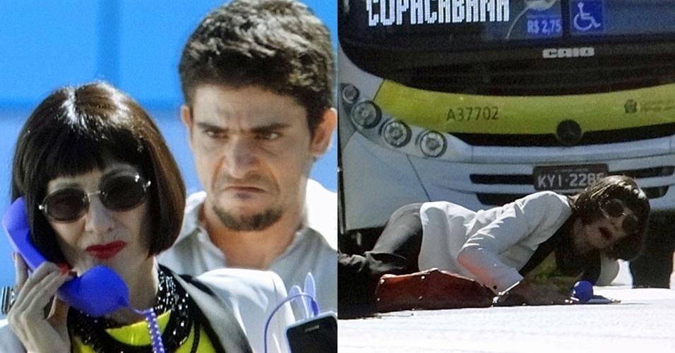 """Em """"Amor Eterno Amor"""", Zenóbio empurra Melissa na frente de um ônibus (17/8/12)"""
