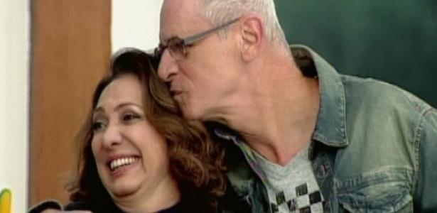 Os atores Eliane Giardini e Marcos Caruso durante participação no programa