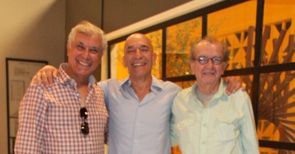 Os atores Paulo Figueiredo, Arthur Botelho e Umberto Magnani se apresentam em coletiva da nova novela da Record,