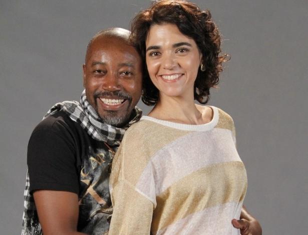 """Nando Cunha e Solange Badin estão no elenco da novela da TV Globo """"Salve Jorge"""", no Projac, Rio de Janeiro (2/10/2012)"""