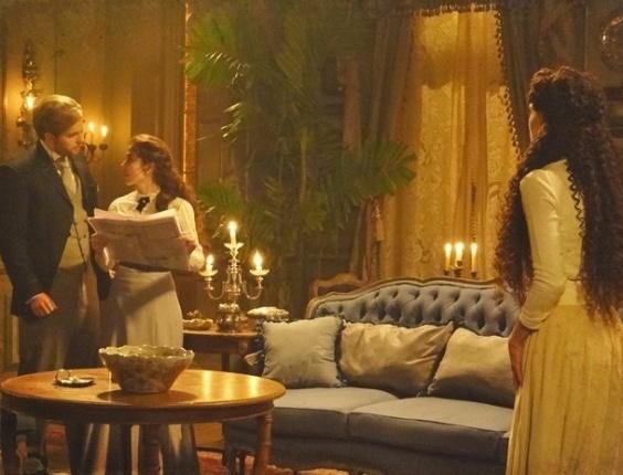 """Em """"Lado a Lado"""", Constância faz visita surpresa para Laura e Isabel precisa se esconder"""