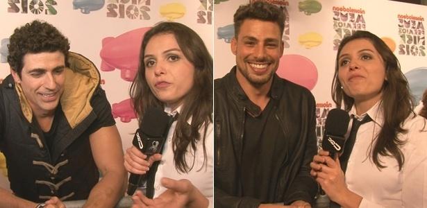 A repórter Mônica Iozzi entrevista os atores Reynaldo Gianecchini e Cauã Rymond para o