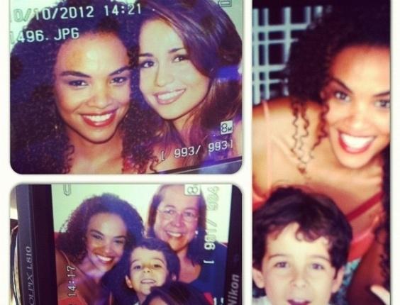"""Lucy Ramos publica fotos de gravação de """"Salve Jorge"""" com Nanda Costa e o garotinho Luiz no Complexo do Alemão, no Rio de Janeiro (10/10/12)"""