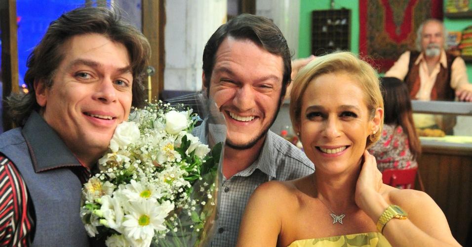 Fábio Assunção, Ravel Cabral e Andréa Beltrão durante gravação de