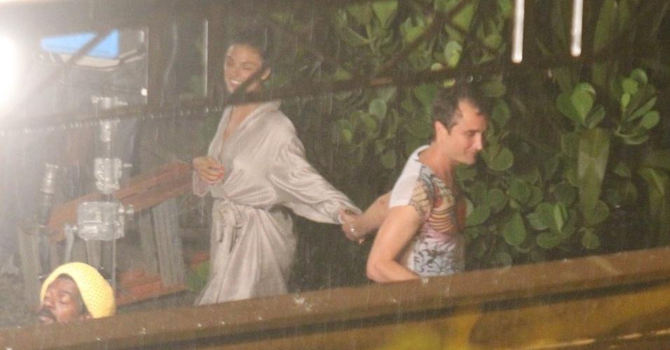 Isis Valverde e João Miguel antes das gravações de