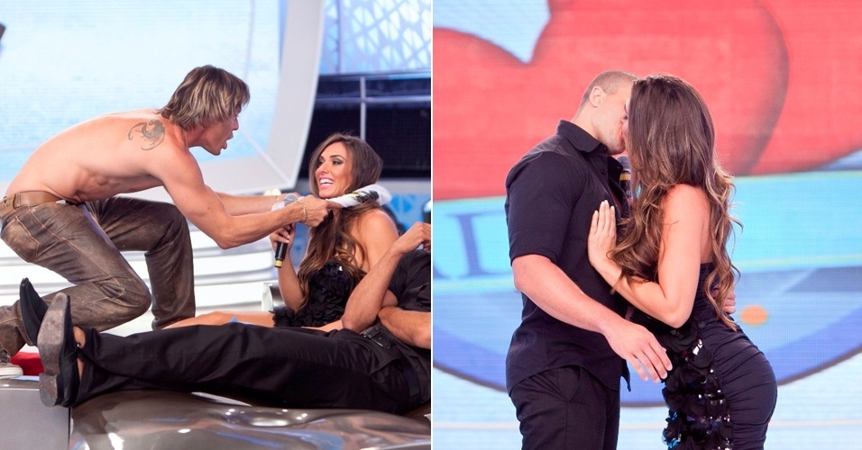 Nicole Bahls e Theo Becker participam do quadro Jogo de Afinidade do 