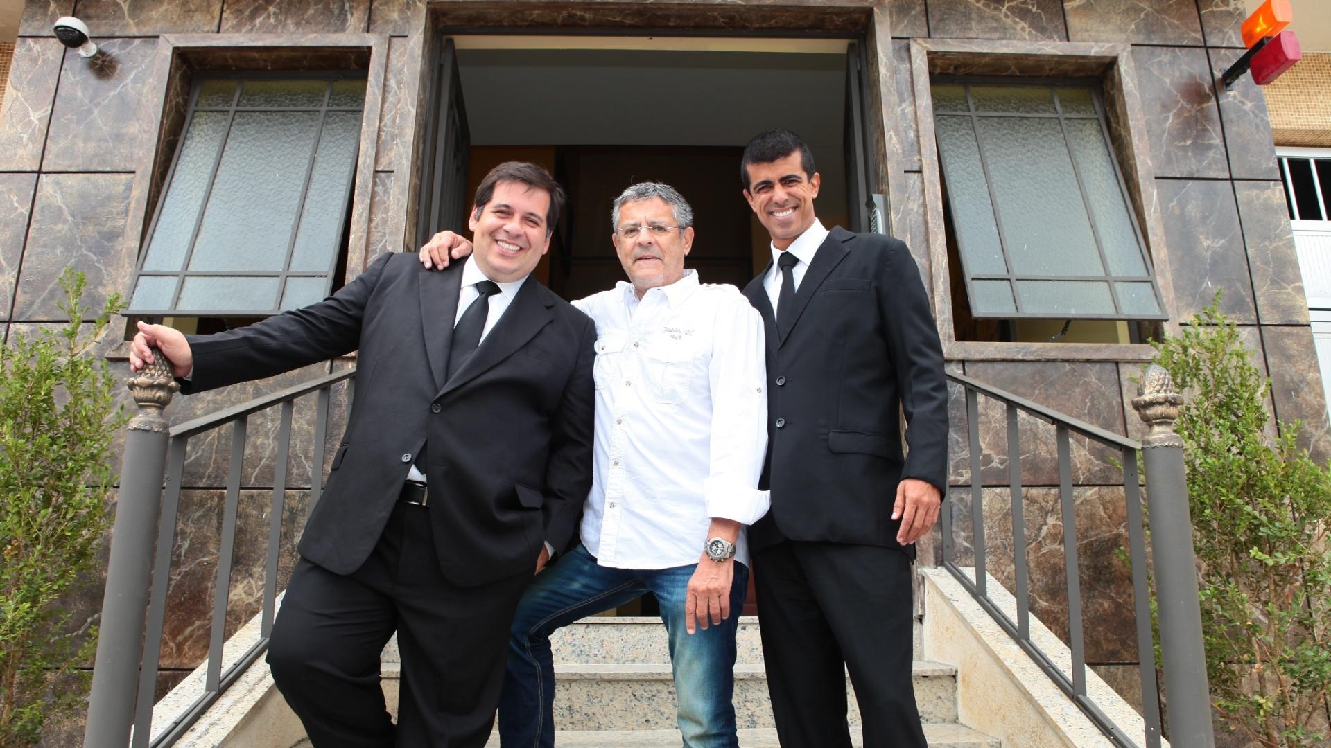 Marcos Paulo com Leandro Hassum Marcius Melhem durante as gravações de