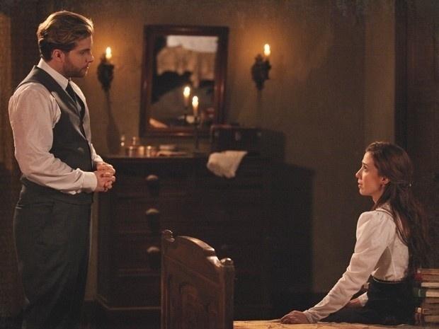 """Em """"Lado a Lado"""", Edgar convida Laura para jantar e demonstra seu amor para ex-mulher (19/11/12)"""