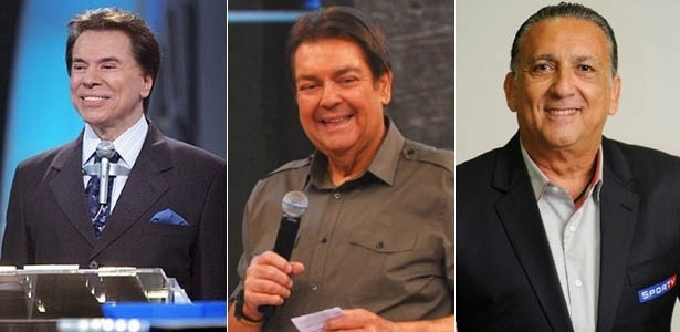 Da esquerda para a direita, Silvio Santos, Fausto Silva e Galvo Bueno