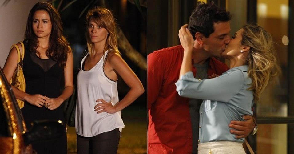 """16.jan.2013 - Em """"Salve Jorge"""", Morena vê Théo aos beijos com Érica e fica sem chão"""