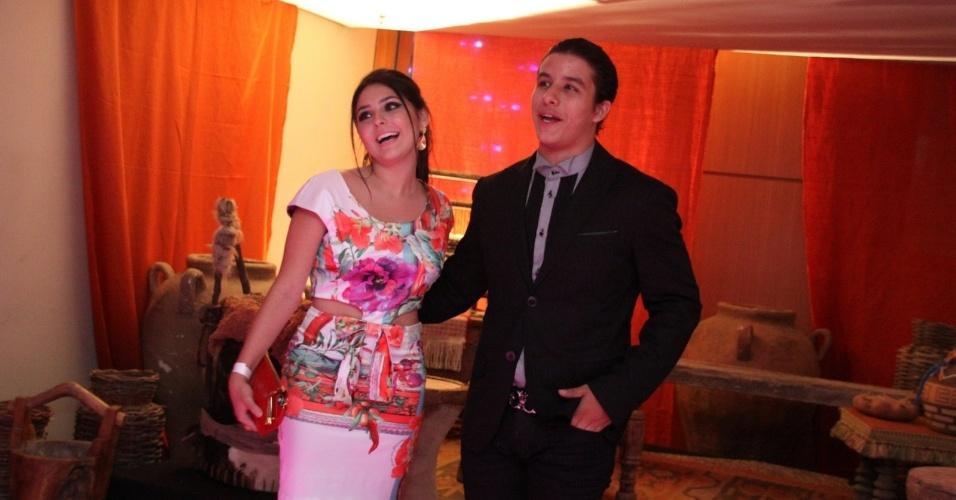 """30.jan.2013 - Ricky Tavares e Marcela Barrozo no evento de lançamento e exibição do 1º capítulo da minissérie da TV Record """"José do Egito"""", na Barra da Tijuca, Rio de Janeiro"""