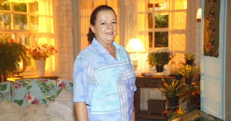 """19.fev.2013 - Bete Mendes participou da apresentação da novela """"Flor do Caribe"""" no Projac, complexo de estúdios da Globo localizado na zona oeste do Rio"""