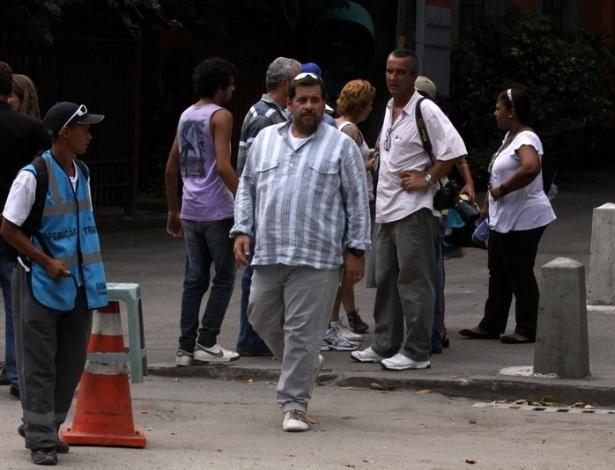 26.fev.2013 - O ator Leandro Hassum gravou cenas do seriado