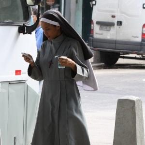26.fev.2013 - O ator Vestida de freira, Taís Araújo gravou cenas do seriado