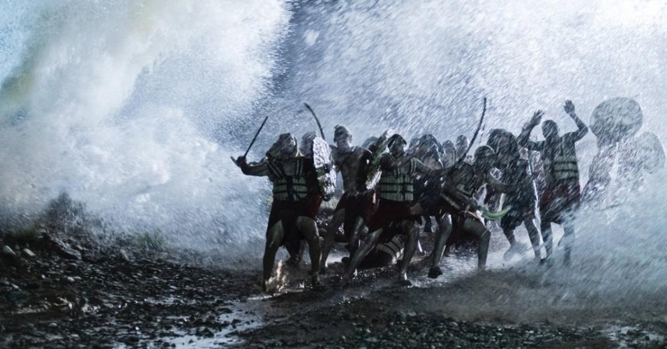 """5.mar.2013 - O exército egípcio é tragado pelas águas do Mar Vermelho em cena da série """"A Bíblia"""", exibida nos EUA pelo History Channel"""