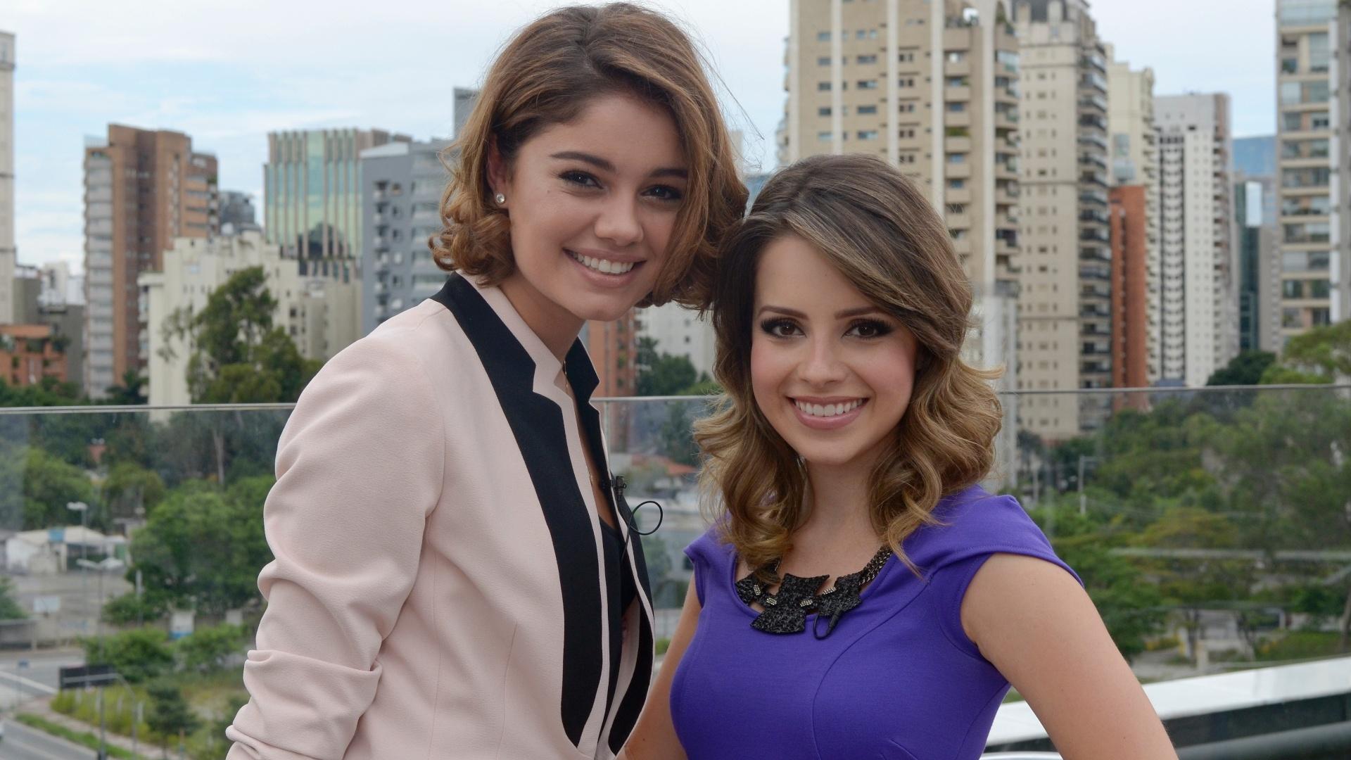 18.mar.2013 Sohie Charlotte e Sandy durante gravação de
