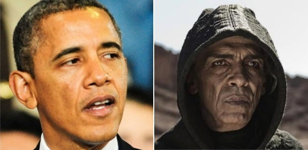 Barack Obama, presidente dos EUA, e o personagem Satanás, de