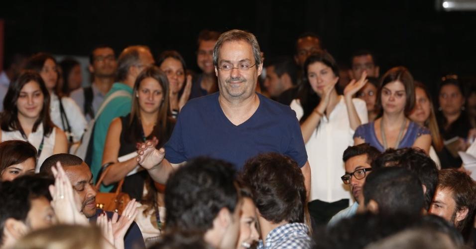 """8.abr.2013 - Daniel Dantas prestigiou a coletiva de apresentação da novela """"Sangue Bom"""" que aconteceu no Projac, zona oeste do Rio"""