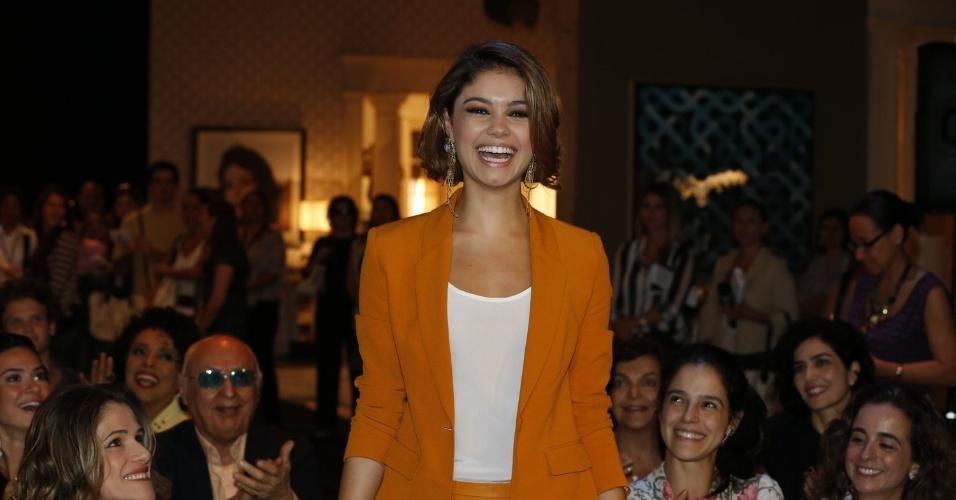 """8.abr.2013 - Sophie Charlotte prestigiou a coletiva de apresentação da novela """"Sangue Bom"""" que aconteceu no Projac, zona oeste do Rio"""