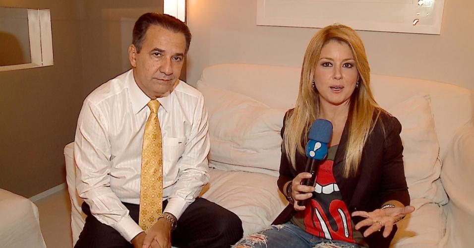 """10.abr.2013 - Pastor Silas Malafaia durante entrevista para o programa """"TV Fama"""""""