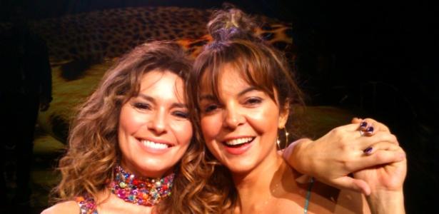 A cantora Shania Twain (à esq.) e a brasileira Sandra Porto