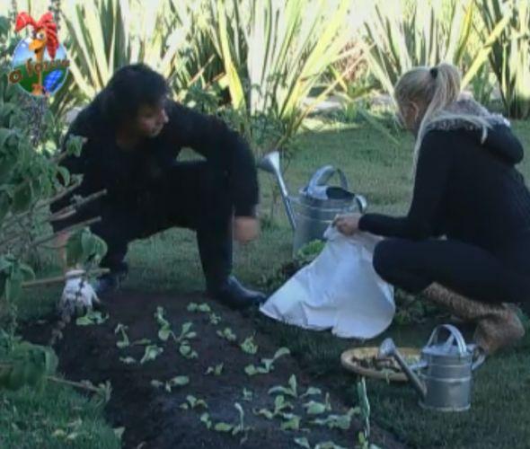 Monique ajuda João Kléber a limpar a horta (10/8/11)