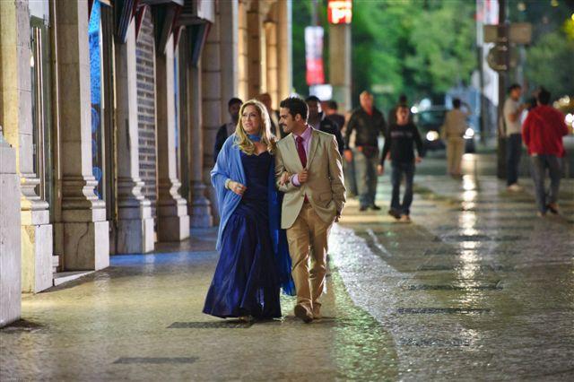 Os atores Susana Vieira e Hugo Sequeira gravam a novela portuguesa