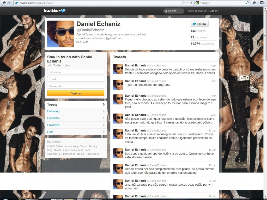 Daniel escreve em sua conta do Twitter (17/1/12)