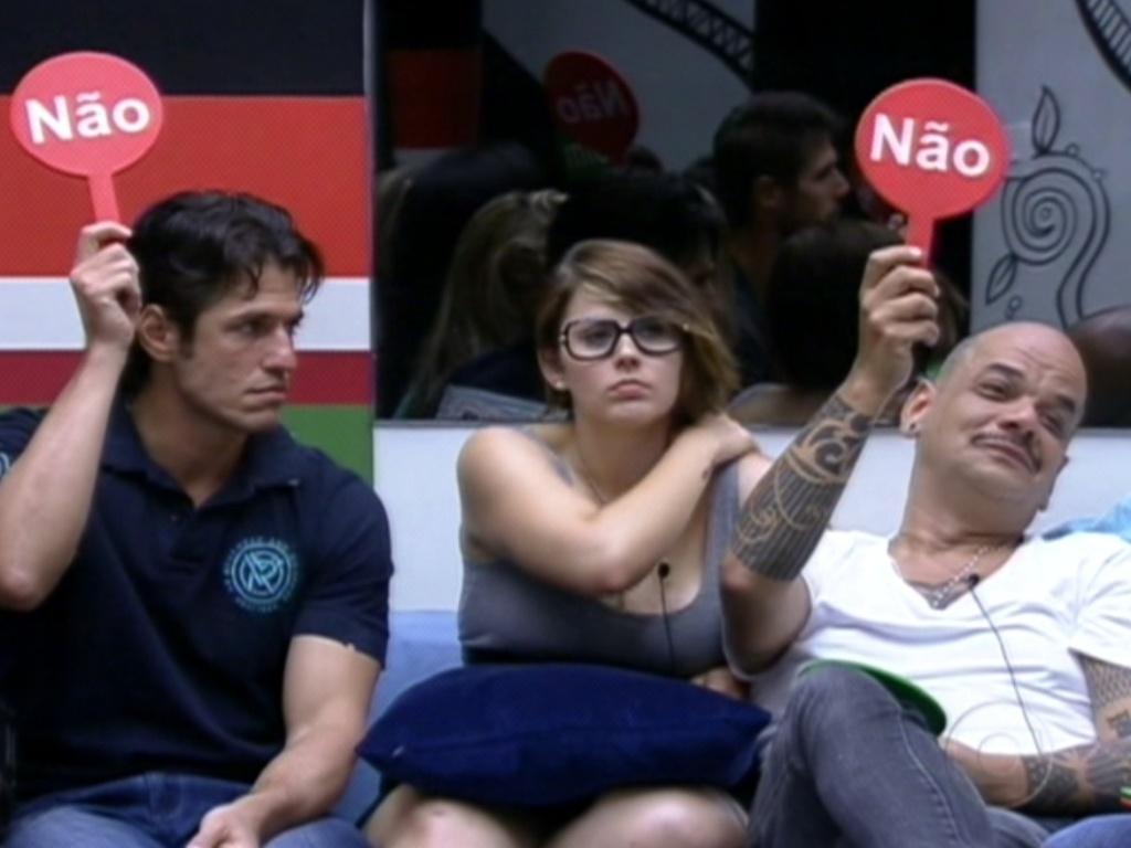 João Maurício e João Carvalho levantam a plaquinha do não no jogo da verdade (30/1/12). Participantes tinham que dizer se os outros foram sinceros nas respostas.