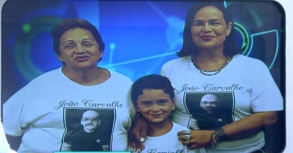 No telão, família de João Carvalho diz que estão torcendo por ele (21/2/12)