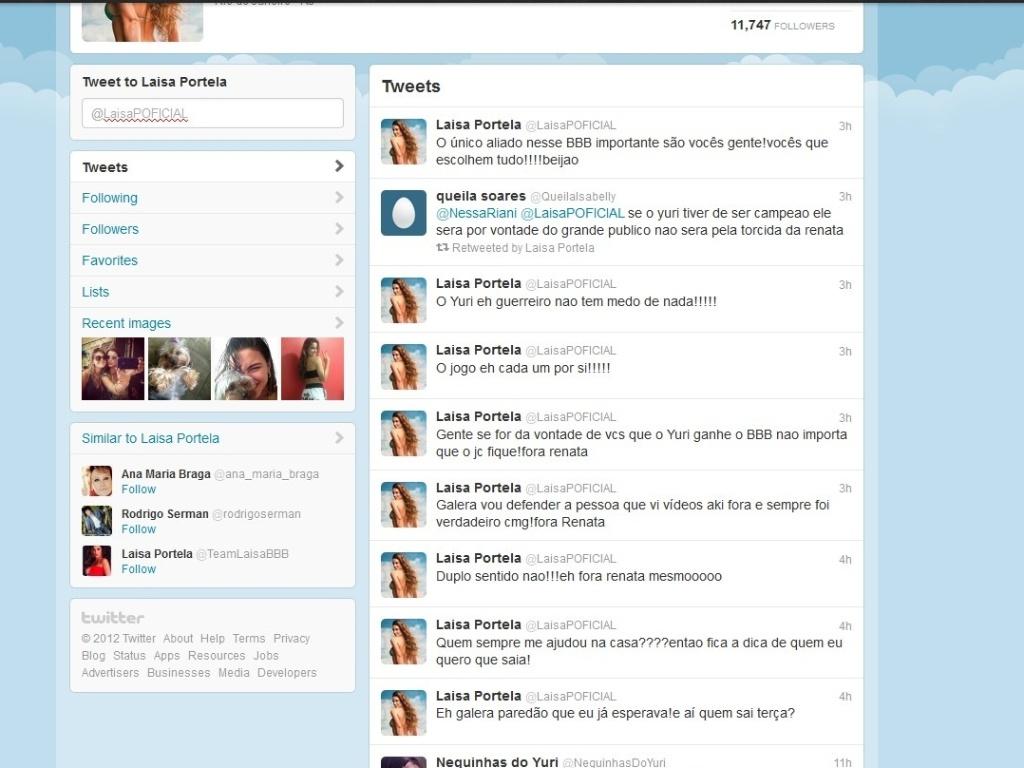 Laisa posta mensagens contra Renata no Twitter (5/3/12)