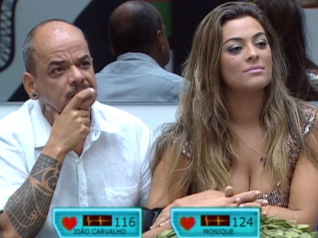 Ansiosos, João Carvalho e Monique ouvem o discurso de Bial (18/3/12)