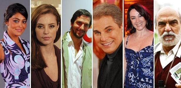 Da esq. para a dir.: Juliana Paes, Paola Oliveira, Vladimir Brichta, Edson Celulari, Nívea Maria e Lima Duarte