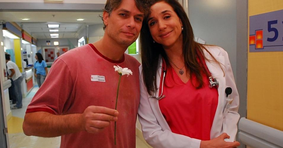 Fábio Assunção grava sua participação especial, ao lado de Marisa Orth, no primeiro episódio de