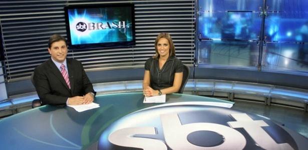 Os apresentadores Carlos Nascimento e Karyn Bravo do SBT  (2010)