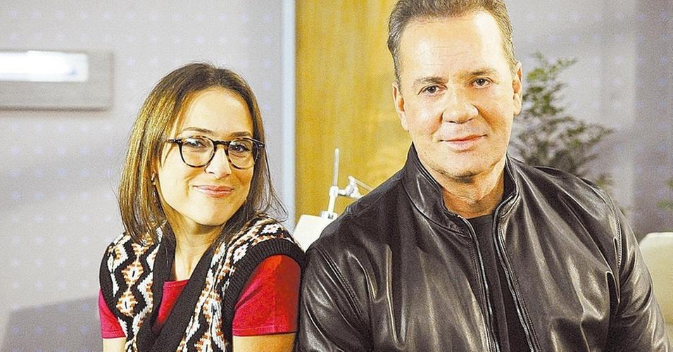 Gabriela Duarte e Luiz Fernando Guimarães em gravação de