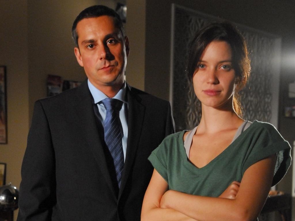 Alexandre Nero e Nathalia Dill durante gravação de