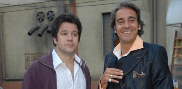 Murilo Benício e Alexandre Borges durante gravação de
