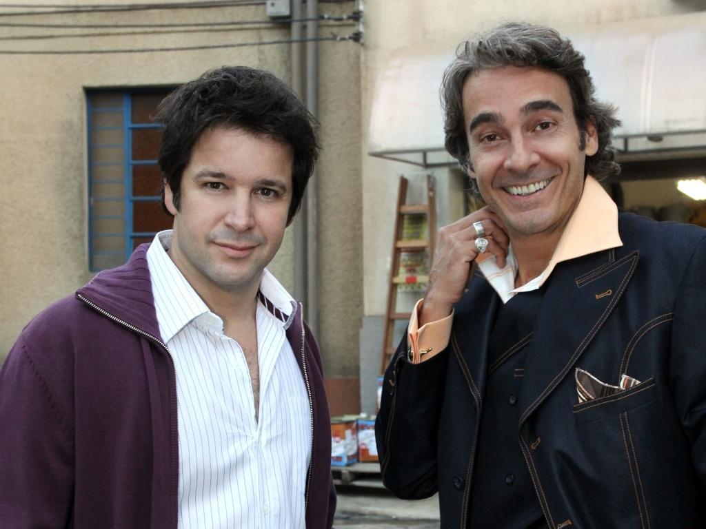 Murilo Benicio e Alexandre Borges se divertem nas gravações de