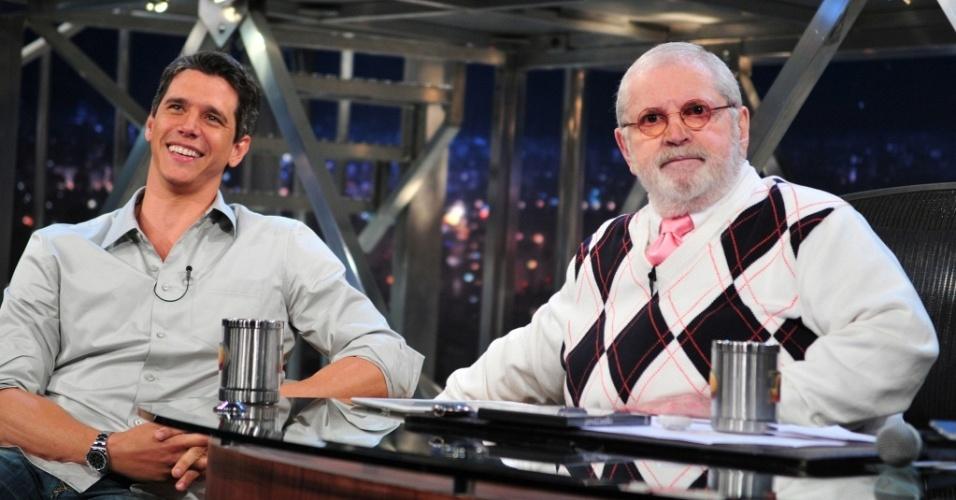 Márcio Garcia e Jô Soares durante gravação do