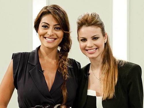 Juliana Paes e Sthefany Brito em gravação para o GNT