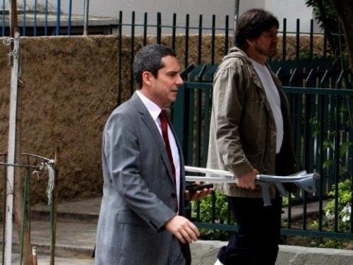 Alexandre Nero e Celso Frateschi durante gravação de